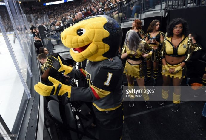 Chance the Vegas Golden Knights Mascot is really just a head and gloves